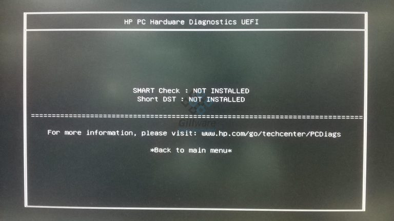 "HP hardware diagnostic ""short DST failed"" error message"