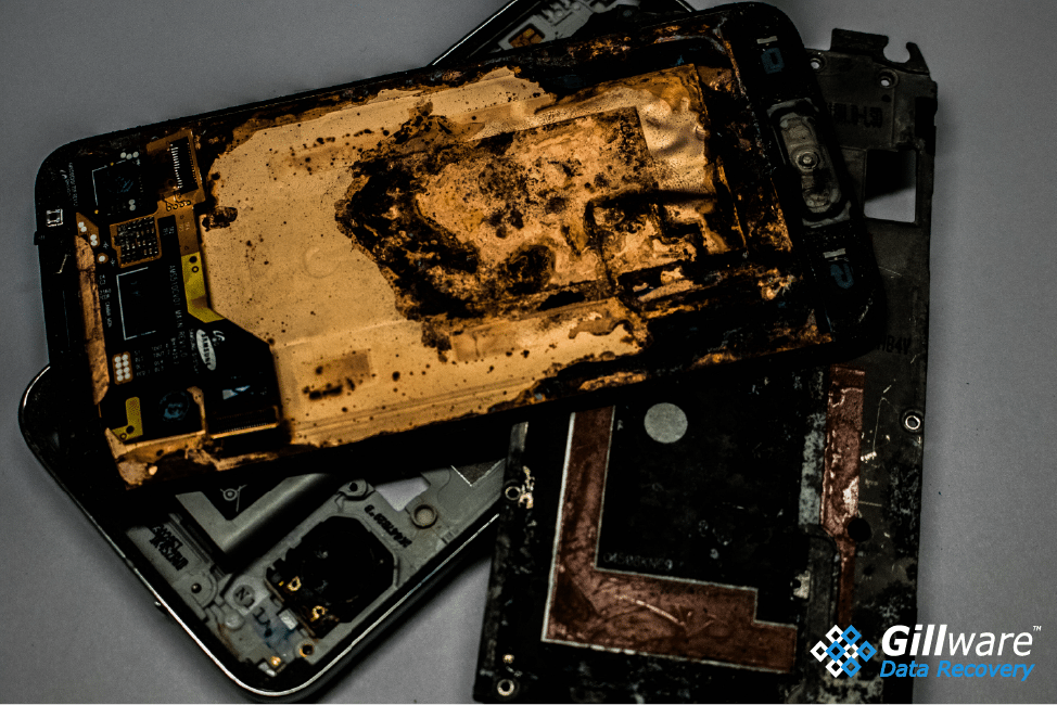 Smartphone burnt in pieces