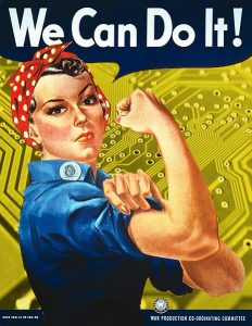 """""""We Can Do It!"""" poster with circuit board background"""
