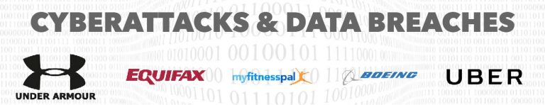 Cyberattacks and Data Breaches Banner Under Armor Equifax MyFitnessPal Boeing Uber