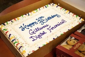 """If you know the right language, you'll see why Gillware Digital Forensics' cake says """"Happy 10th Birthday""""..."""