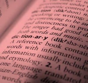 Dictionary page in red