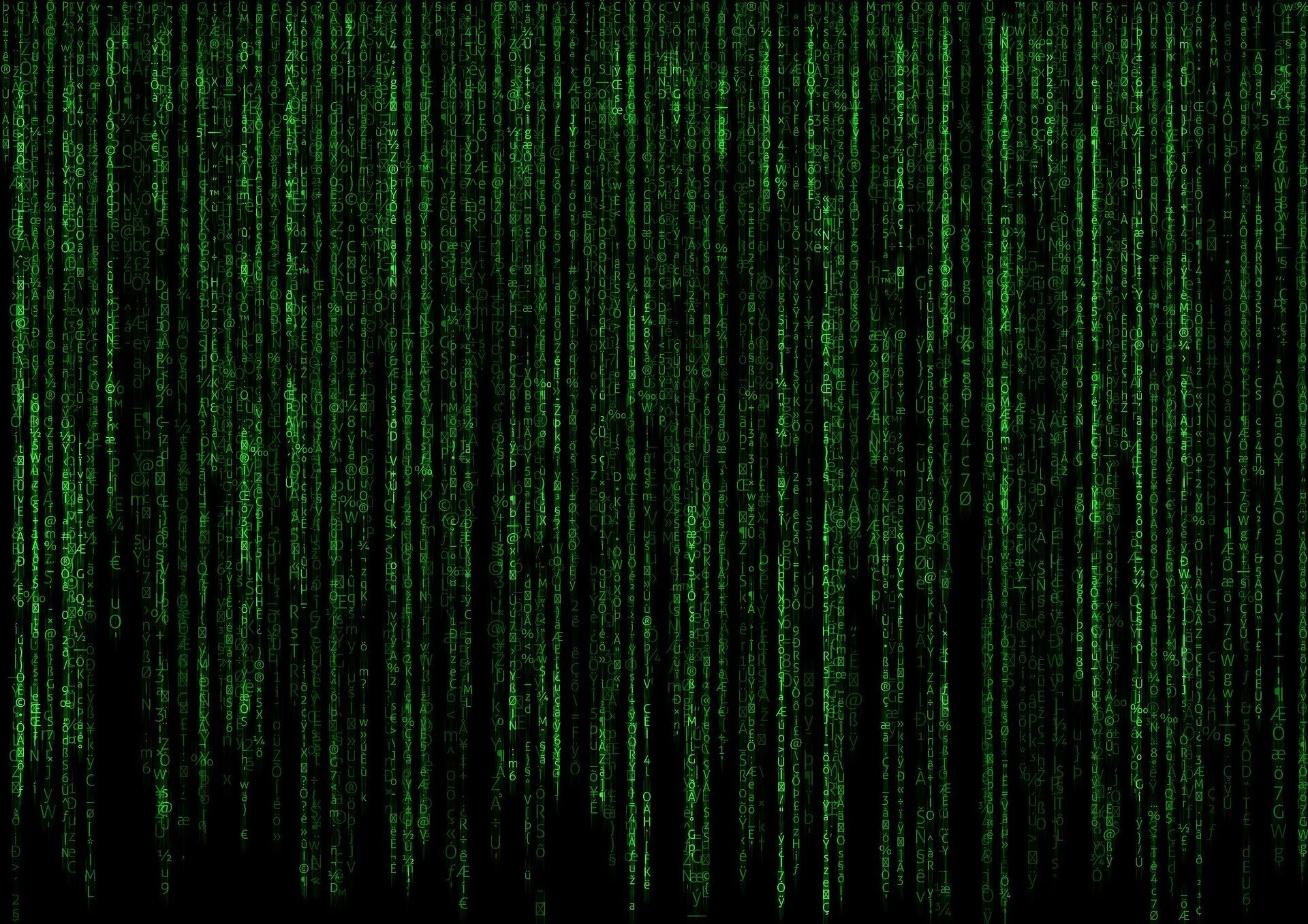 Data illustration with green text on black background