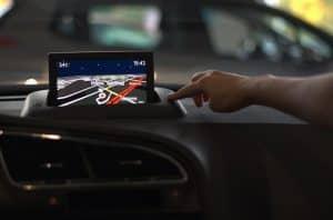 GPS unit on car dashboard