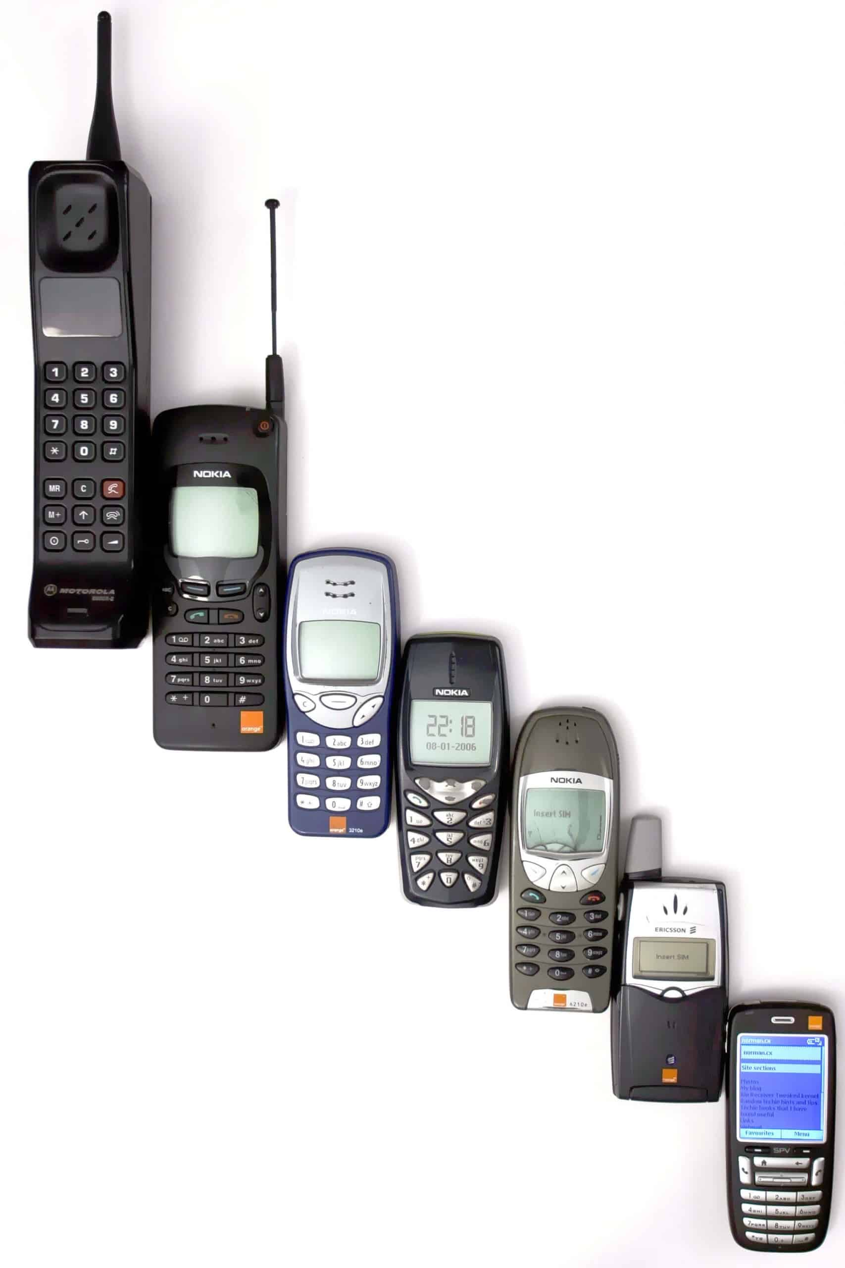 A photo of multiple mobile phones to represent the technological progression