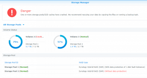 A crashed Synology storage pool