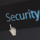 Closeup view of a computer screen with cursor hovering over cybersecurity link
