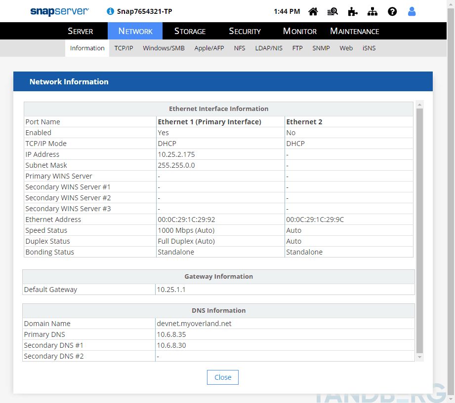 Example of the Network Information pages