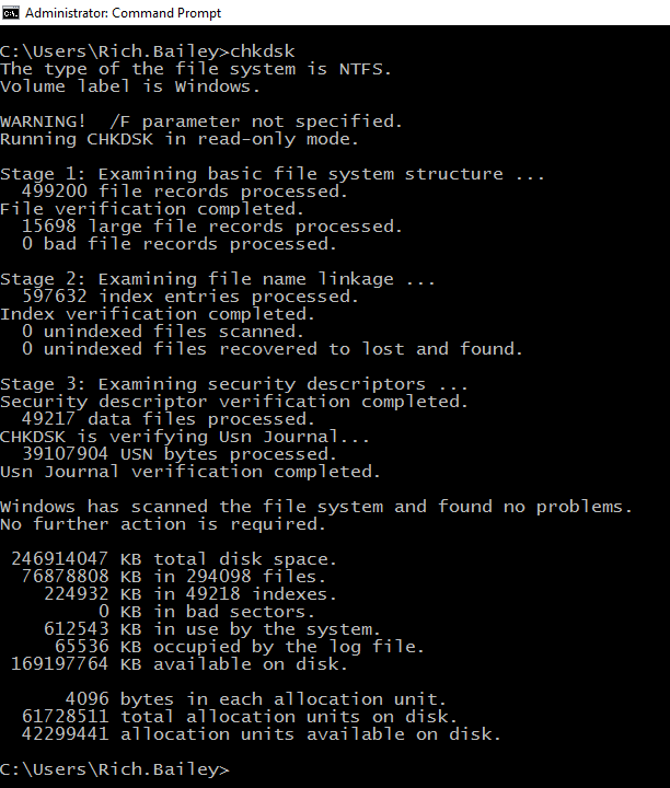 chkdsk screenshot