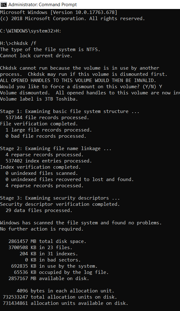 Example of chkdsk