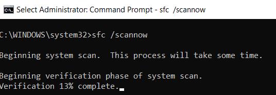sfc/scannow screenshot